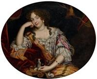 portrait de jeune femme avec son chien et portrait de gentilhomme à la veste de brocard (pair) by pierre mignard the younger