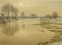 the rhine in winter by maximilien (max) clarenbach