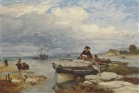 fisherfolk on the shore at low tide by edward duncan