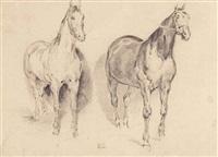etude de deux chevaux by eugène delacroix