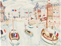 boats at st. valery en caux by william george gillies