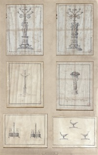 projets d'argenterie (various sizes; 6 works) by henri auguste