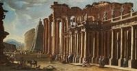 architekturcapriccio mit einer kolonnade und dem kolosseum dahinter by viviano codazzi