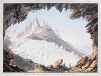vue prise de la voute nommée le chapeau, du glacier des bois et des aiguilles des charmoz by jean-antoine linck