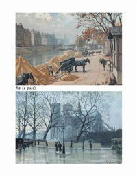 loading carts on the banks of the seine, paris (+ walking in the rain before notre dame, paris; pair) by charles andre igounet de villers
