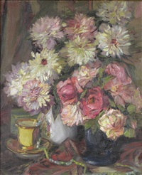 still life with roses and chrysanthemums by georg oskarovich shlicht