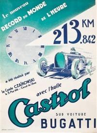 le nouveau record du monde de l'heure sur bugatti 213km,842. réalisé le 7 mai par le comte czaïkowski sur le circuit de l'avus avec l'huile castrol by jean pillod