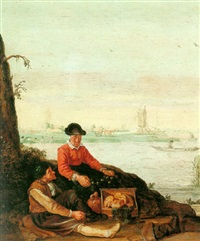 fischerfolk on the bank of an estuary with rowboats, bathers and a windmill beyond by arent (cabel) arentsz