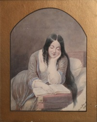 portrait of a young lady reading by charles w. andrews
