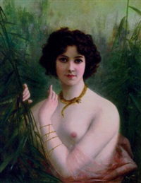 nude woman amidst bulrushes by m. hifter