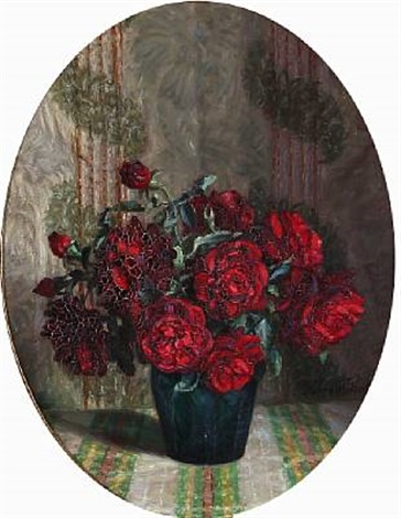 a pair of still lifes with flowers pair by harald martin hansen holm