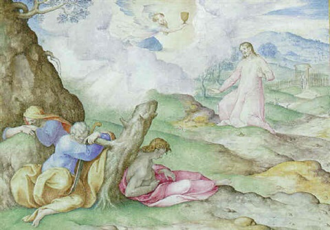 The Agony in the Garden, in a decorative frame by Giovanni Battista ...