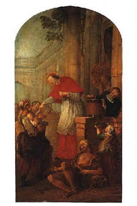 st. carlo borromeo giving alms to the poor by pierre louis dumesnil