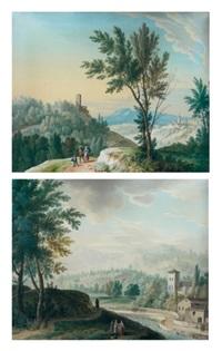 la halte des promeneurs devant une rivière le long d'un village (+ promeneurs dans un paysage montagneux; pair) by antonius peregus