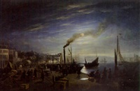 boulogne-sur-mer by moonlight by henri-toussaint gobert