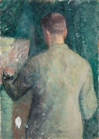autoportret przy sztalugach (+ postaci (sketch), verso) by marcin franciszek samlicki
