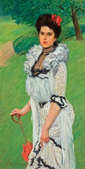 the white dress: portrait of a young woman by william thomas smedley