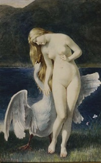leda and the swan by tony robert-fleury