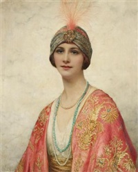 a beauty in eastern costume by william clarke wontner