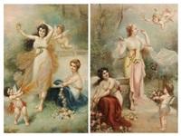 jeunes filles aux fleurs et putti (2 works) by henri pierre picou