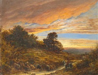 figure by a stream at dusk by john linnell