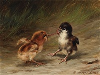 two chicks with a worm by robert morley