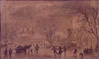 figures on the ice outside the walls of a town by zacharias blyhooft