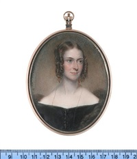 a lady, wearing black dress with white lace trim, fur stole, a long gold necklace, gold pendent earrings, her hair upswept, parted and curled in ringlets framing her face by henry collen