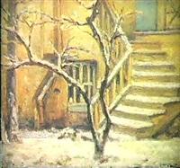 the artist's studio in paris during the winter by stelios miliadis