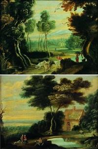 paysage de la campagne flamande animés de paysans (+ another, similar; pair) by jacques fouquieres