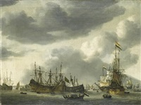 dutch shipping at anchor in a calm by reinier nooms