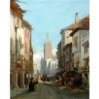 a street scene in seville by françois antoine bossuet