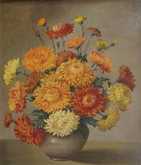still life, chrysanthemums by norah simpson