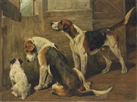 waiting for the hunt: a terrier and two hounds by john emms