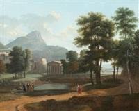 paysage de montagnes avec un temple et des philosophes by jean victor bertin