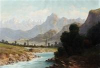 paysage de montagne by lucien alphonse gros