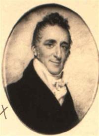 portrait of gentleman in blue coat, yellow waistcoat and tied cravat by charles hayter