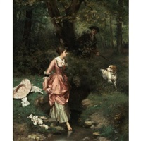 a young beauty crossing a brook, a hunter beyond by emile pierre metzmacher