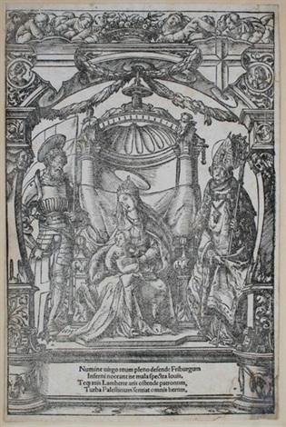 das stadtwappen freiburgs im breisgau verso maria mit dem kind und den stadtpatronen freiburgs dem heiligen georg und dem heiligen lambert by hans holbein the younger