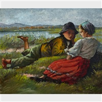 young couple in a field by oszkár glatz