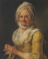 portrait de femme tricotant by jean françois gilles colson