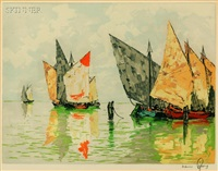 moored sailboats by hans figura