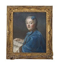 portrait de la princesse de rohan (on 2 sheets) by maurice quentin de la tour