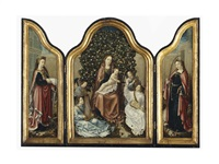 a triptych: mary and child surrounded by angels making music (central panel); saint catherine; and another female saint (wings) by flemish school-antwerp (16)