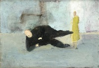 sketch for a man who suddenly fell over by michael andrews