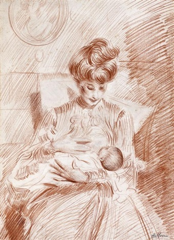 portrait de madame helleu allaitant by paul césar helleu