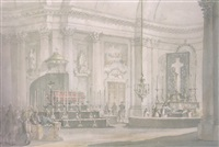 a church interior: scene of an important funeral by giacomo quarenghi