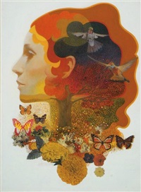 woman's head surrounded by birds and butterflies by mark english
