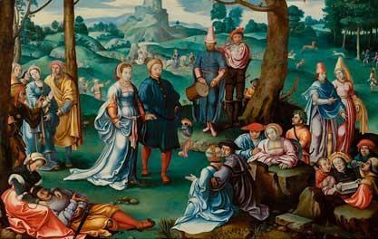 couple dans un paysage animé by lucas van leyden