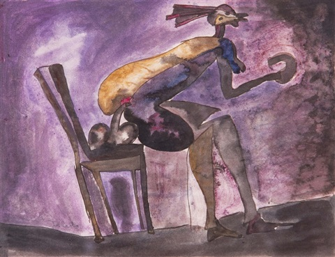woman with chair by francisco toledo